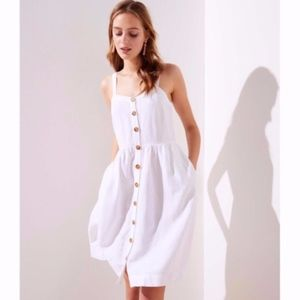NWT LOFT White Linen Button Down Dress 0P
